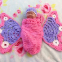 Crochet Butterfly photo prop, newborn girls baby shower gift, hungry caterpillar, pink lavendar and white. - Edit Listing - Etsy