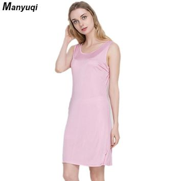 100% pure silk women's solid nightgown sleeveless round neck tops sexy night wear slim dressing gown for women summer homewear