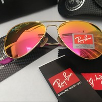 Ray Ban Aviator Sunglasses Gold Frame Pink Mirrored RB 3025