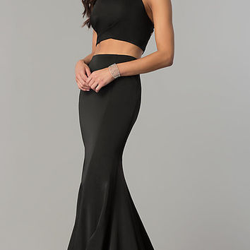 Long Two-Piece Prom Dress with Corset Open Back