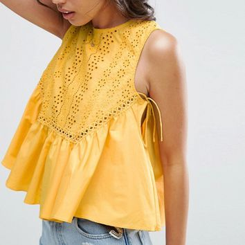 ASOS Swing Top with Broderie Panel at asos.com