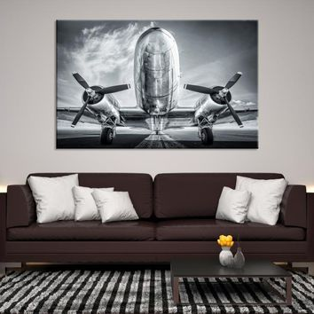 47045 - Black and White Bottom-up Airplane Canvas Print, Extra Large Wall Art Canvas Print, Airplane Propeller Wall Art, Propeller Canvas, Framed Wall Art, Interior Decor