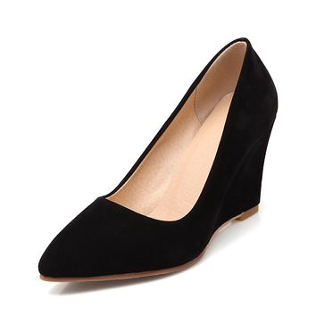Pointed Toe Women Suede Wedges Shoes