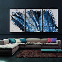 """Blue Wall Art Modern Painting Contemporary art 72"""" Handmade original painting on canvas by Nandita Albright """"Blue Thought"""" Home Decor"""