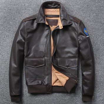 Free .Brand A2 style leather clothing,plus size man's 100% genuine leather Jackets,classic mens Engraved jacket,quality