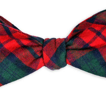 MacGregor Flannel Tartan Bow Tie in Red and Green by High Cotton