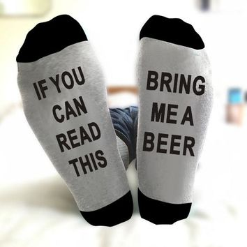 IF YOU CAN READ THIS BRING ME A BEER  Christmas Socks