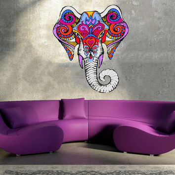 Full color Wall Decal Vinyl Sticker Decals Art Decor Design Mural Ganesh Om Elephant  Mandala  Buddha Bedroom Office Dorm Bedroom (rcol45)