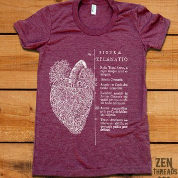 Women's Vintage ANATOMICAL HEART t shirt american by zenthreads