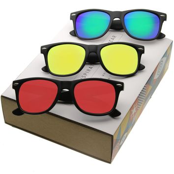 Retro Matte Black Color Mirrored Lens Horned Rim Sunglasses A600 [Promo Box]