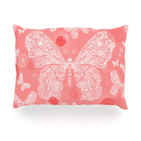 "Monika Strigel ""Butterfly Dreams Coral"" Pink White Oblong Pillow"
