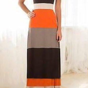 Orange Color Block Spaghetti Strap Bohemian Maxi Dress