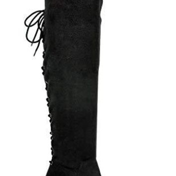 Women's Faux Suede Over The Knee OTK Tall Thigh High Riding Dress Boots