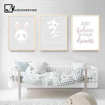 Star Rabbit Cartoon Wall Art Canvas Poster Nursery Quote Prints Nordic Style Painting Wall Picture Children Bedroom Decoration
