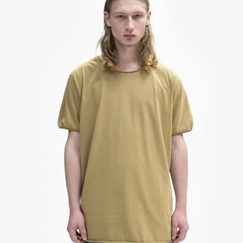 Basic Straight-Bottom Short Sleeve Tee in Dark Khaki