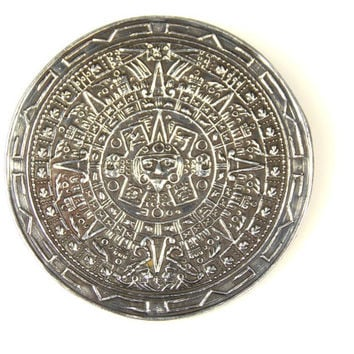 Vintage Taxco Sterling Silver Mayan Sun Dial Brooch Pendant Signed J Gomez