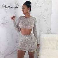NATTEMAID Solid Color Silver Bodycon 2 Piece Set Women Clubwear Sexy Party Two Piece Set 2018 Autumn Sequin Women Set Skirt Set