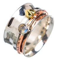 Spinner Ring - Three Tone Tone Labradorite & Bronze Heart