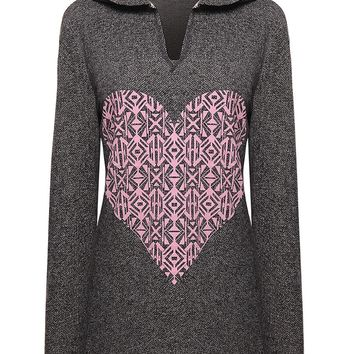 Casual Unique Style Heart Printed Hoodie