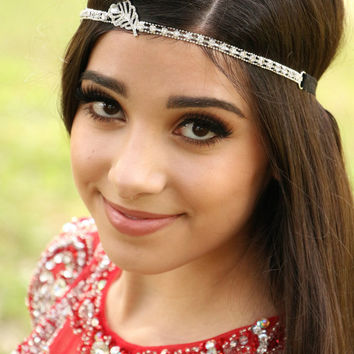 Feather Headband - Rhinestone Feather Headband - Rhinestone Headband - Boho Headband - Festival Headband - Feather - Prom Headband - Gypsy