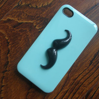 SALE: Fresh Mint Hard Phone Cover / iPhone 4 Case, iPhone 4s Case, iPhone 5 Cases / Black Mustache / Friendship Graduation Trends Gift