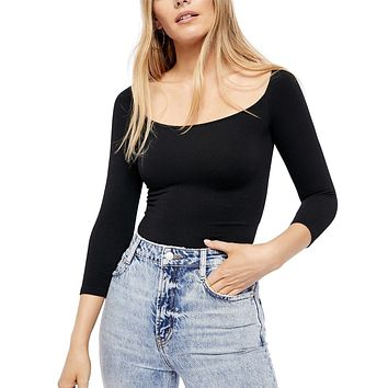 Free People - Square Neck 3/4 Sleeve Top in Black
