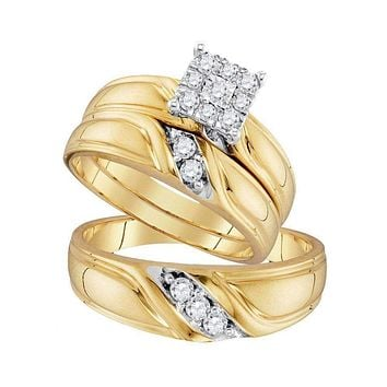 10kt Yellow Gold His & Hers Round Diamond Cluster Matching Bridal Wedding Ring Band Set 1/3 Cttw - FREE Shipping (US/CAN)