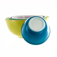 Pyrex Primary Mixing Bowl Set 401 402 403 404 Red Green Blue Yellow 1940s Vintage Kitchen Decor Replacement Pyrex Pottery Ceramic Rainbow