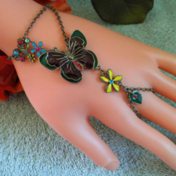 Bronze Butterfly Infinity Ring, Hand Chain, Hand Harness, Slave Bracelet, Body Jewelry, Body Chain