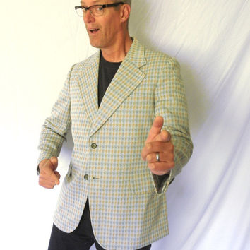 Swanky Mens Vintage Sport Coat 70s Double Knit Plaid Sports Jacket Green Tan K Mart 1970s Wide Lapel SIZE 42R
