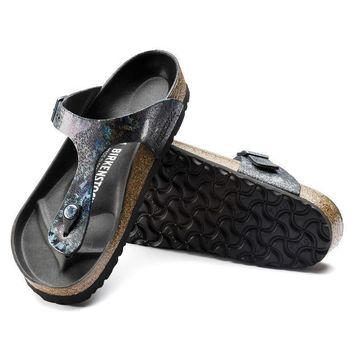 Sale Birkenstock Gizeh Lux Leather Spotted Metallic Black 1005678/1005679 Sandals