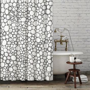 Shower Curtain 'Grey and White Bubbles'