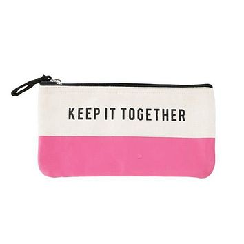 Keep It Together Pencil Case in White and Pink