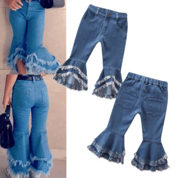 Med Waist Denim Flared Girls Bell Bottom Jeans