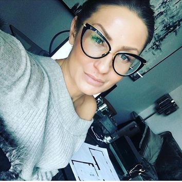 HUITUO New European and American trend Retro Cat Eye Optical Glasses Star with The Same Spectacles Unisex Reflective Eyeglasses