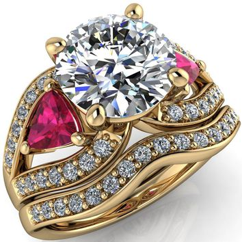 Kassandra Round Moissanite 4 Prong Trillion Ruby Side Split Shank Accent Engagement Ring