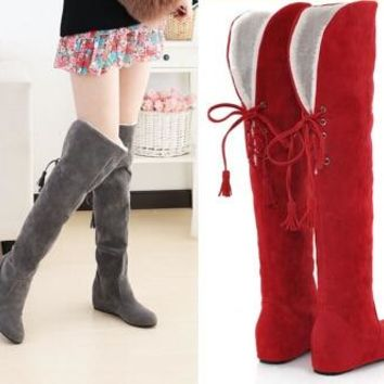 2015 New Fashion Women's Winter Snow Boots Tassel Back Strap Martin Boots Flat Elevator Knee-Length Boots Plus Size 35-43 #7747