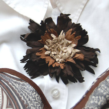 Brown leather flower hair pin by ModaMakovera on Etsy