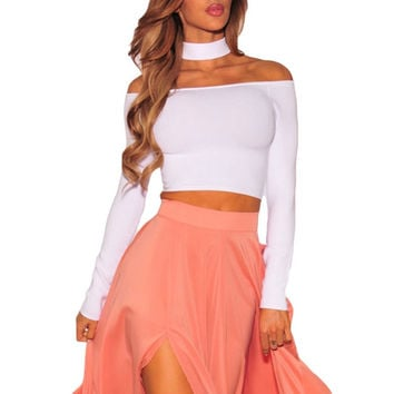 FGirl Women's t Shirt Crop Top Sleeved Off Shoulder Choker Crop Top T-shirts for Women FG31305