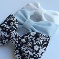 White denim, powder blue, and black and white floral bow lot from Seaside Sparrow.  This Seaside Sparrow set makes a perfect gift for her.