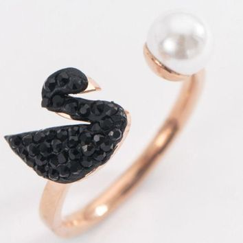ac NOVQ2A Black Swan pearl ring rose gold simple fashion opening wild index finger ring