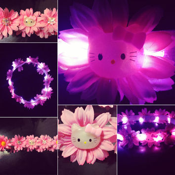 Hello Kitty LED Flower crown for raves EDC and Music Festivals