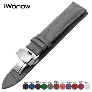 Genuine Leather Watchband for TAG Heuer Breitling Cartier IWC Watch Band Steel Clasp S