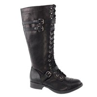 Ahoy Black Pu By Soda, Women's Fashion Military Lace Up Combat Boots