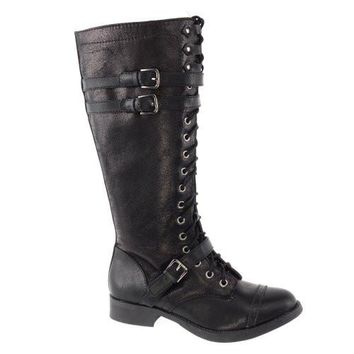 Ahoy By Soda, Women's Fashion Military Lace Up Combat Boots