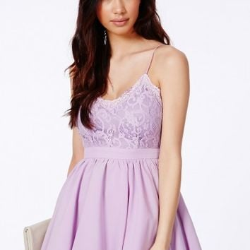 Missguided - Shiraz Strappy Lace Detail Puffball Mini Dress In Lilac