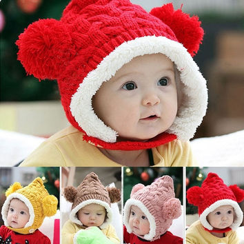 Baby Toddler Boy Girl Kids Winter hat Beanie Ear protectors Cap 4 Colors Hot New D_L = 1713095108