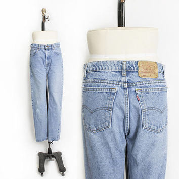 "Vintage Levi's 505 JEANS - Cotton Denim Straight Leg High Waist Boyfriend Jeans 1990s - 32"" x 33"" Medium"