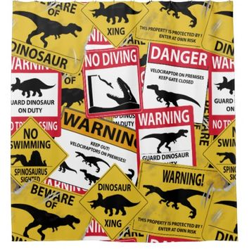 Dinosaur Caution Signs Shower Curtain