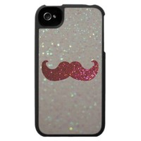 Pink Bling Mustache (Faux Glitter Graphic) Case For The iPhone 4 from Zazzle.com